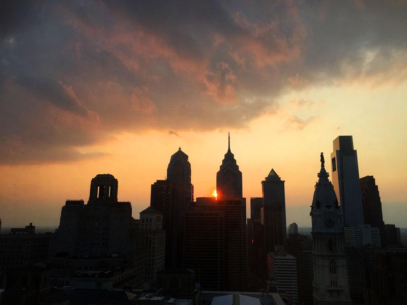 Philadelphia-Skyline-at-Sunset-Pennsylvania